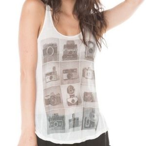 BRANDY MELVILLE White Camera Graphic Tank Top